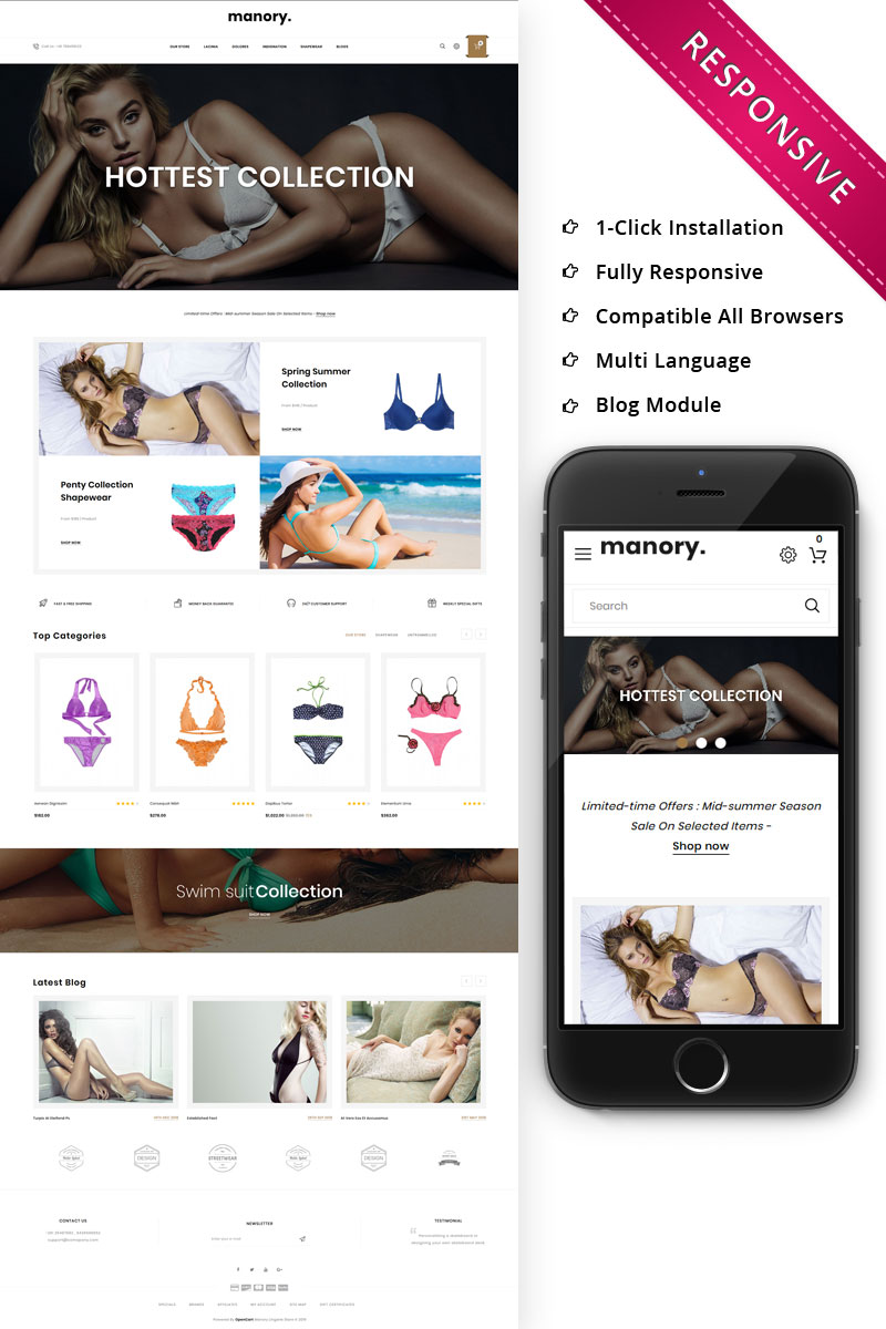 Manory Lingerie Store - Responsive OpenCart Template