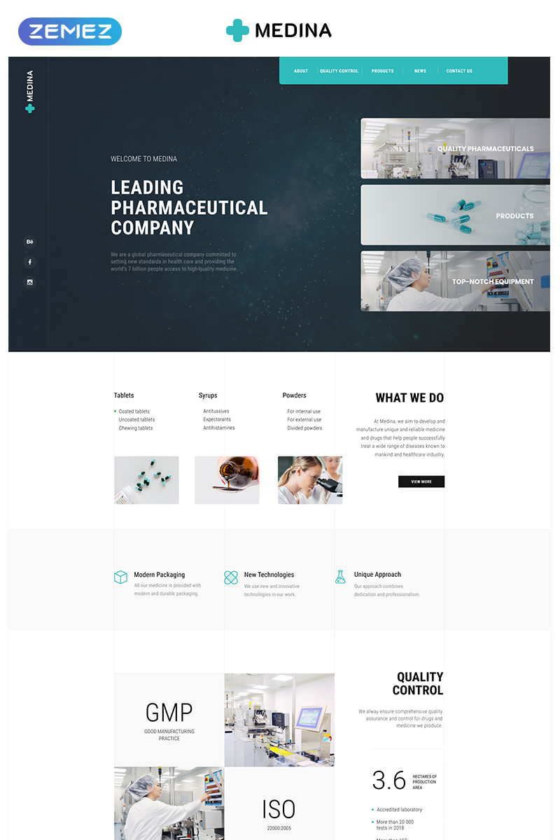 """Medina - Pharmaceutical Company Modern HTML"" 响应式着陆页模板 #78297"