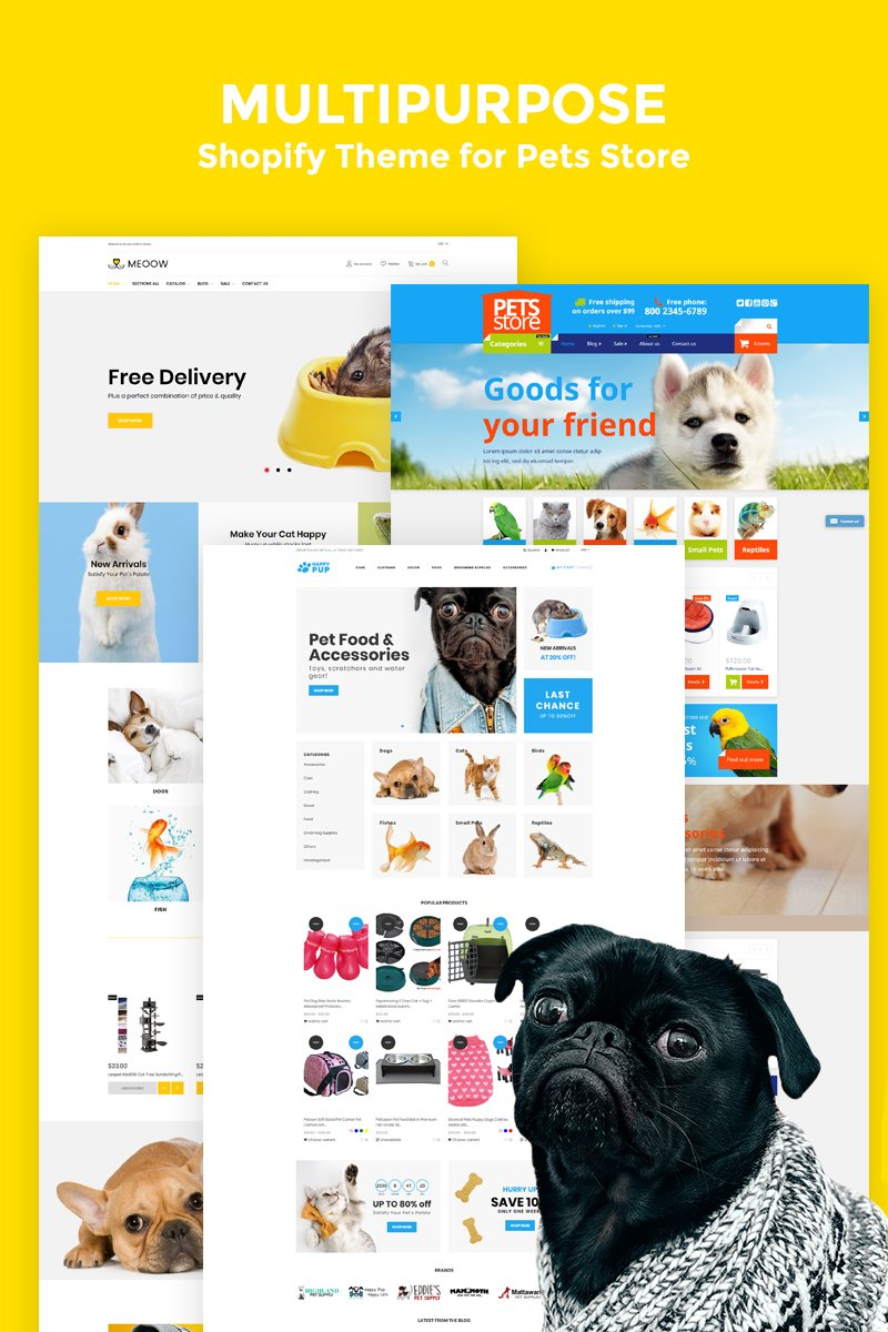 """Medow - Pet Food, Dog and Cat Store"" - адаптивний Shopify шаблон №78223"