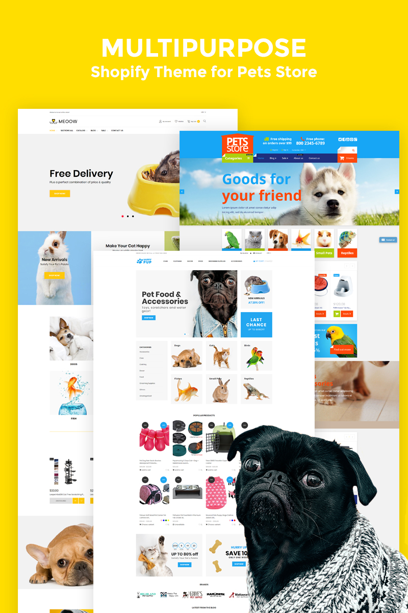 """""""Medow - Pet Food, Dog and Cat Store"""" 响应式Shopify模板 #78223"""