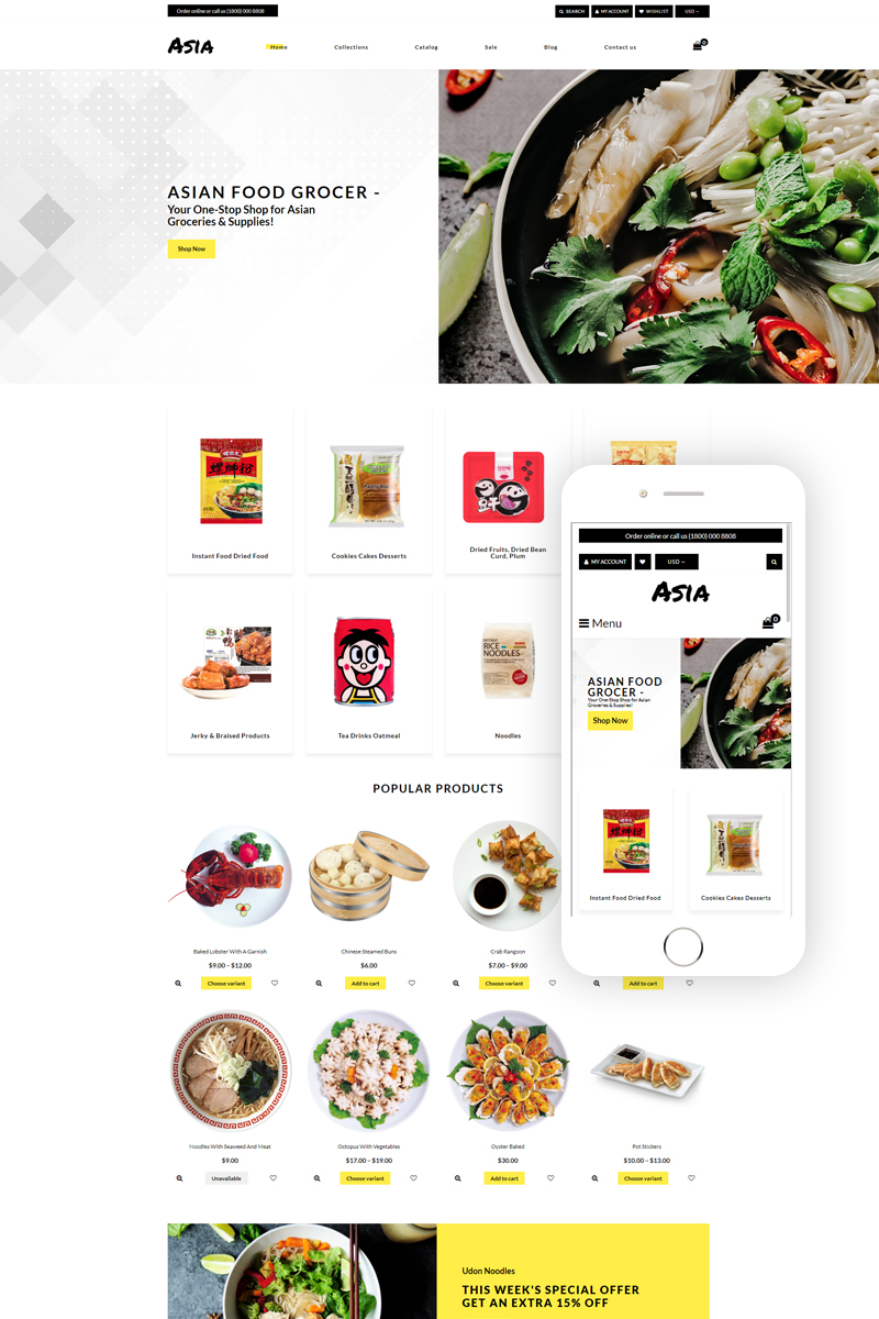 "Modello Shopify Responsive #78239 ""Asia - Asian Food Online Store Clean"" - screenshot"