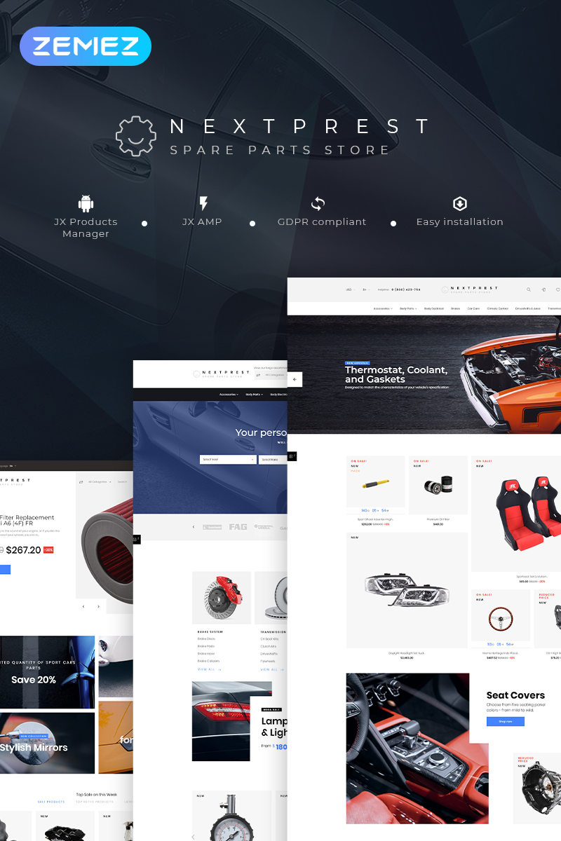"""Nextprest - Spare Parts Store Clean Bootstrap Ecommerce"" Responsive PrestaShop Thema №78296"