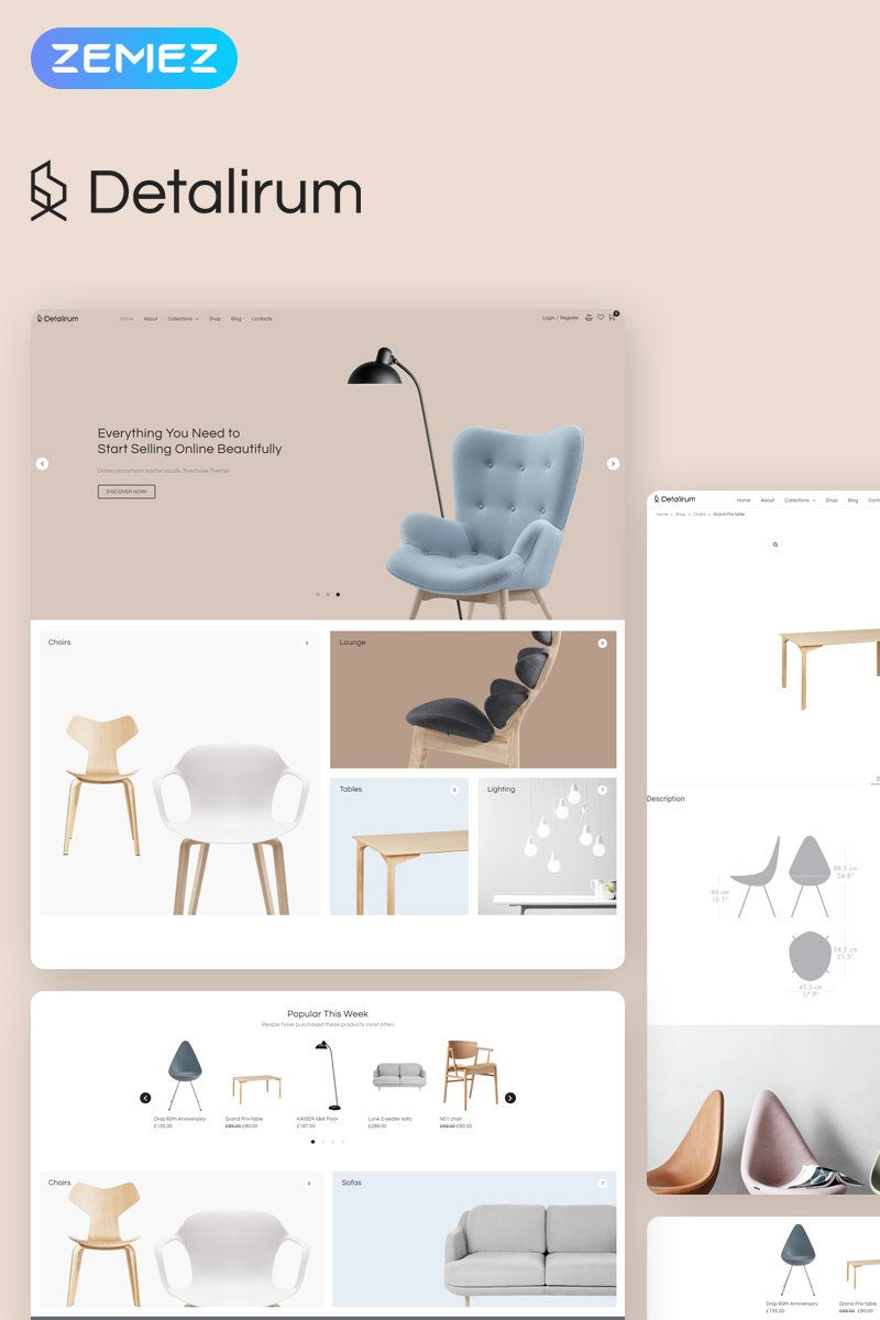 Responsywny motyw WooCommerce Detalirum - Furniture Design ECommerce Minimal Elementor #78228