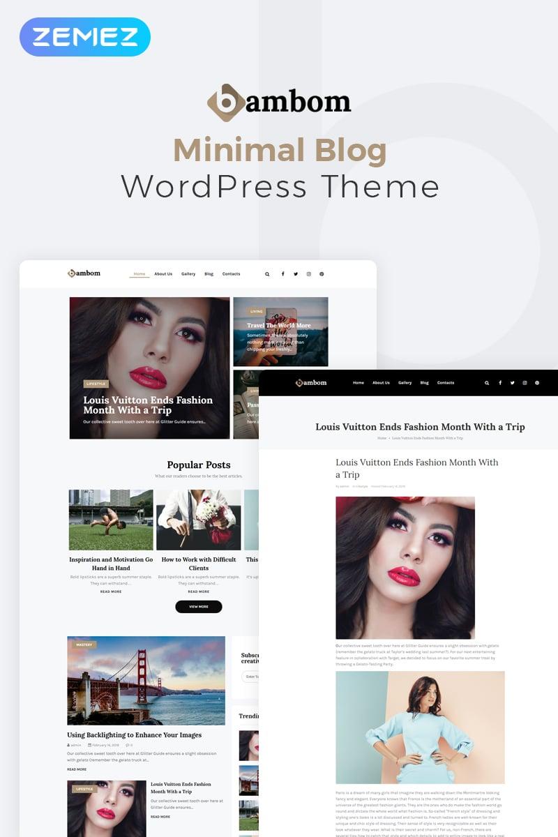 Reszponzív BamBom - Lifestyle Blog Multipurpose Minimal Elementor WordPress sablon 78219