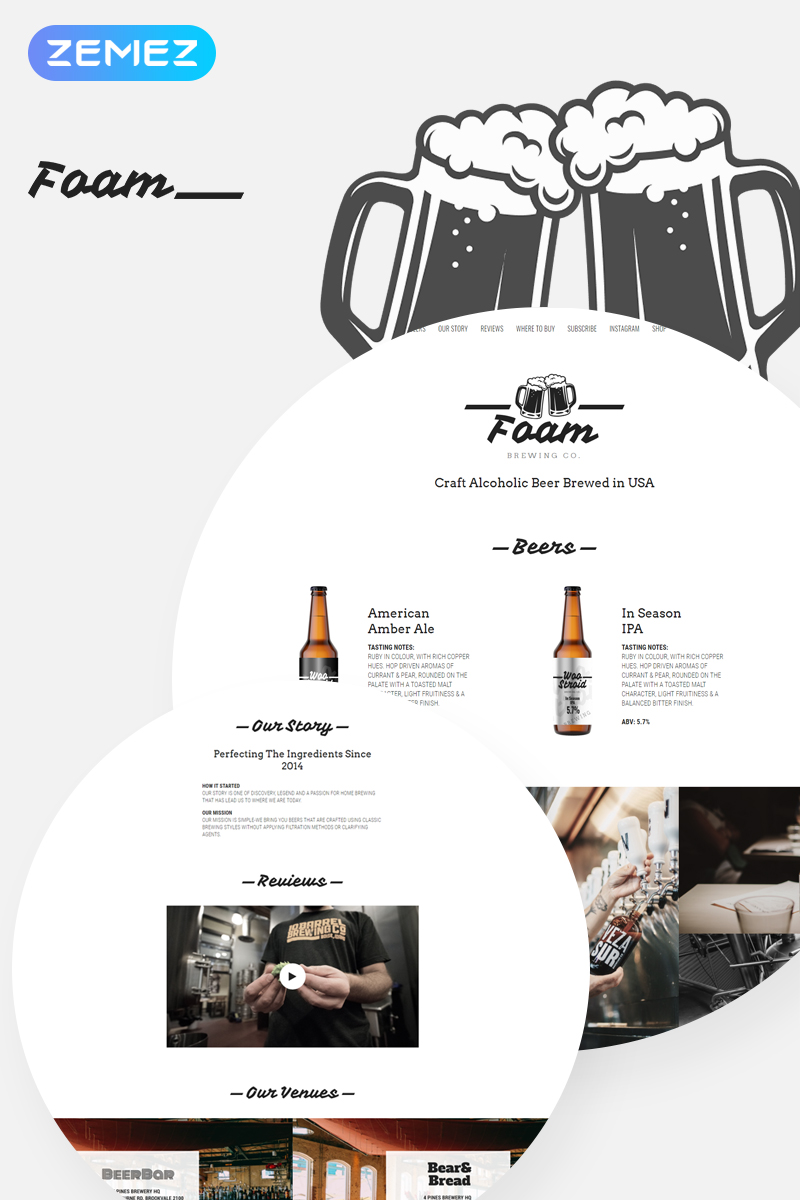 "Tema WooCommerce Responsive #78225 ""Foam - Beer Pub ECommerce One Page Modern Elementor"""