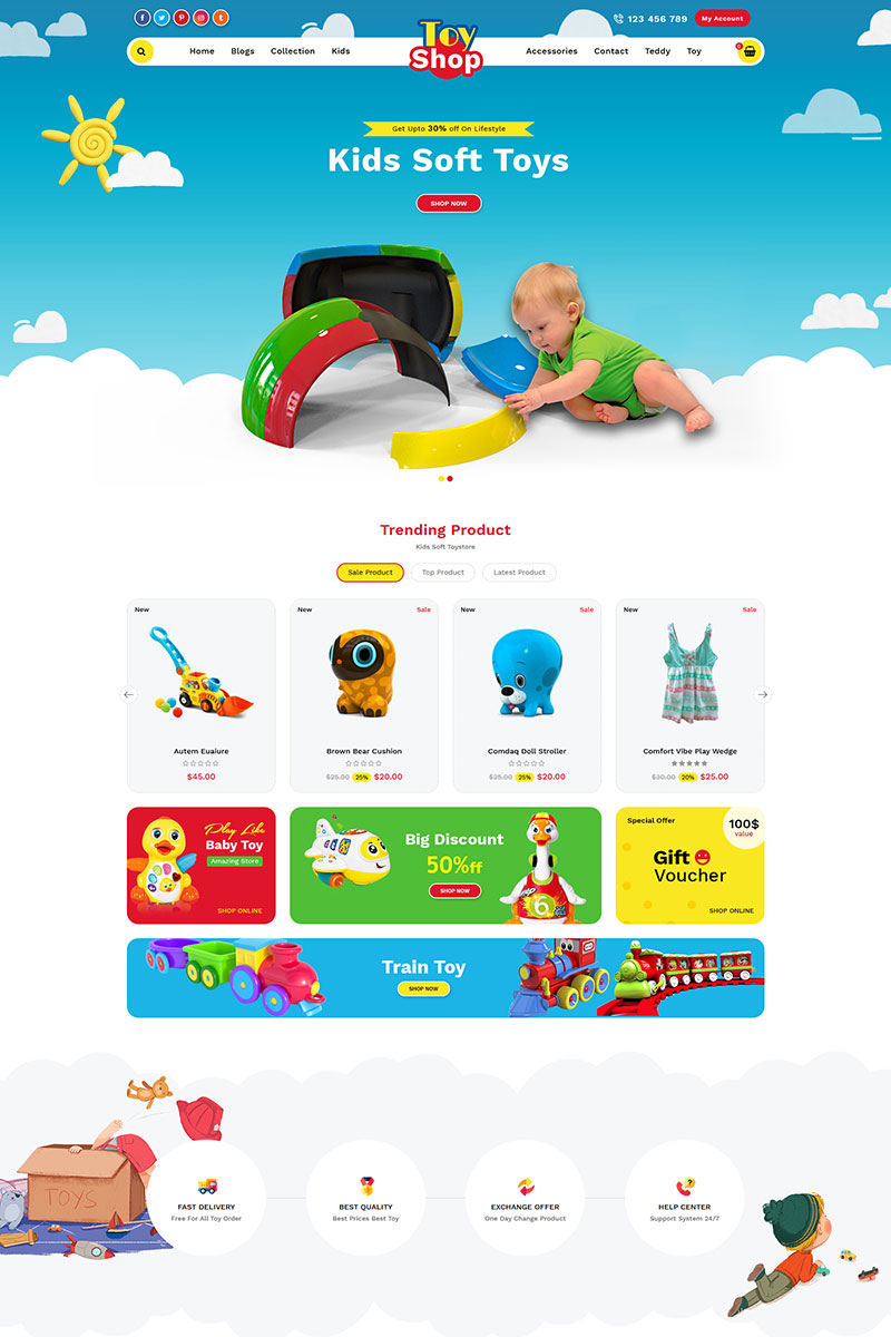 Toystore Tema de Shopify №78278 - captura de tela