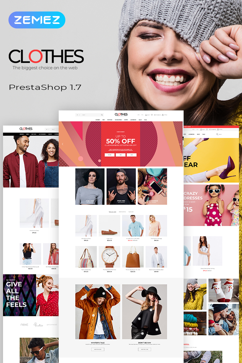 """Clothes - Brand Apparel Store Clean Bootstrap Ecommerce"" 响应式PrestaShop模板 #78393"