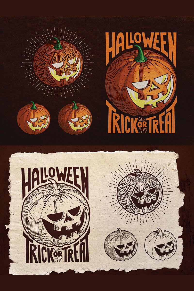 """Halloween Pumpkin Engraving Style"" illustration  #78368 - screenshot"