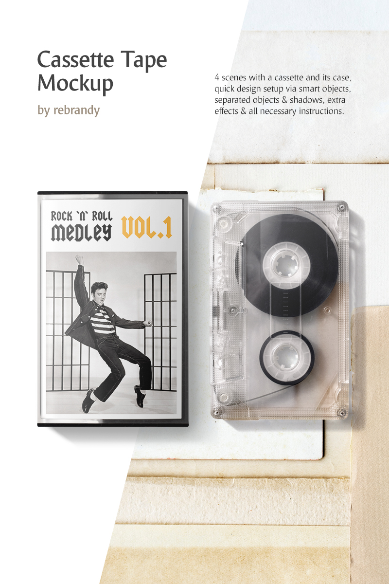 "Maketa produktu ""Cassette Tape Mockup"" #78386 - screenshot"