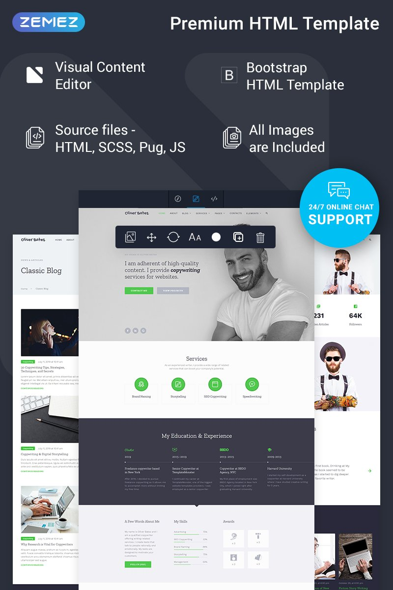 Oliver Bates - Copywriting Services Classic Ready-to-Use HTML5 №78390