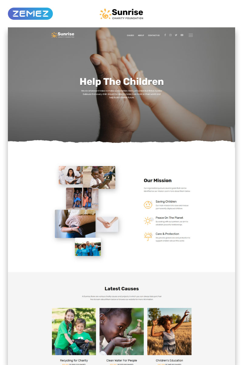 """""""Sunrise - Charity Foundation Modern HTML5"""" - адаптивний Шаблон цільової сторінки №78389"""