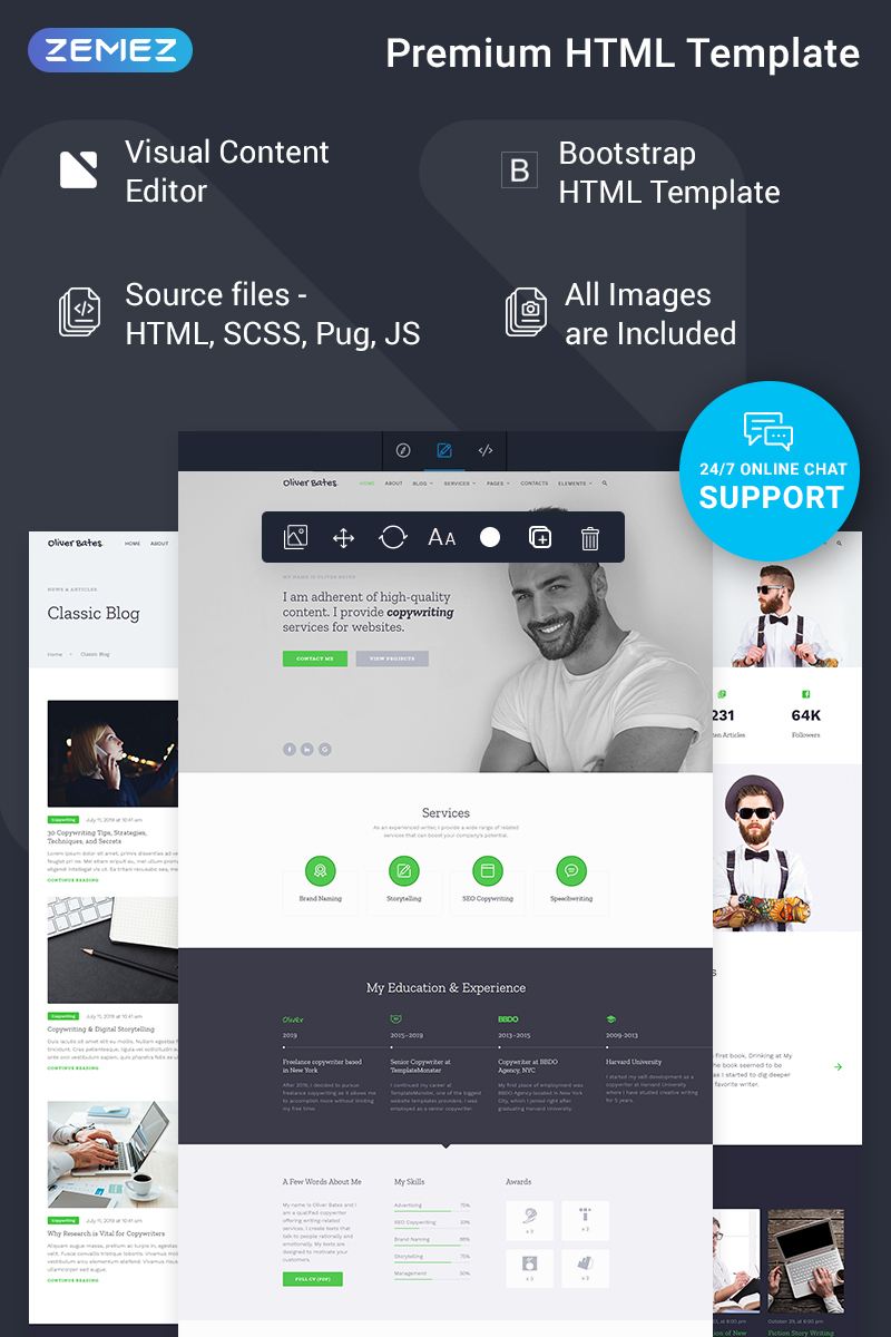"Tema Siti Web Responsive #78390 ""Oliver Bates - Copywriting Services Classic Ready-to-Use HTML5"""