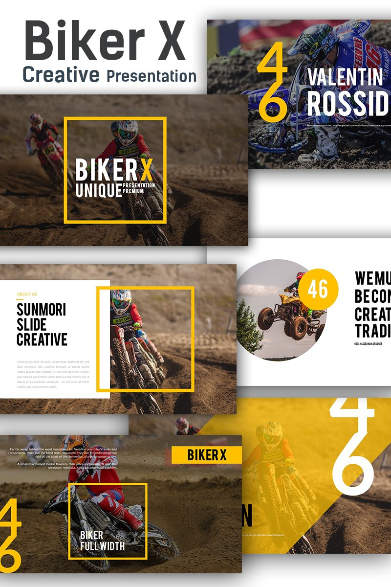 """Biker X"" - адаптивний PowerPoint шаблон №78474"