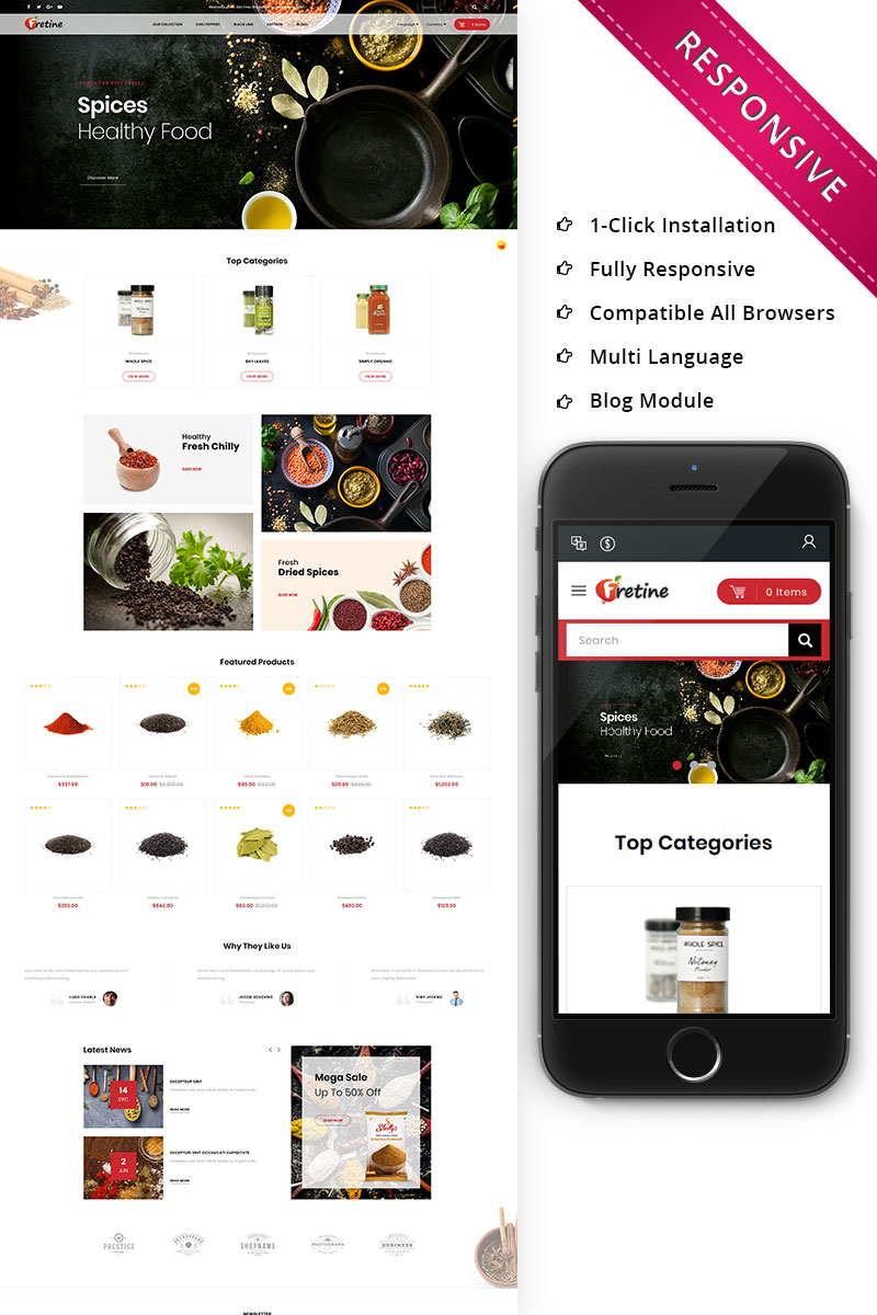 """Fretine Spice Store - Responsive"" 响应式OpenCart模板 #78496"