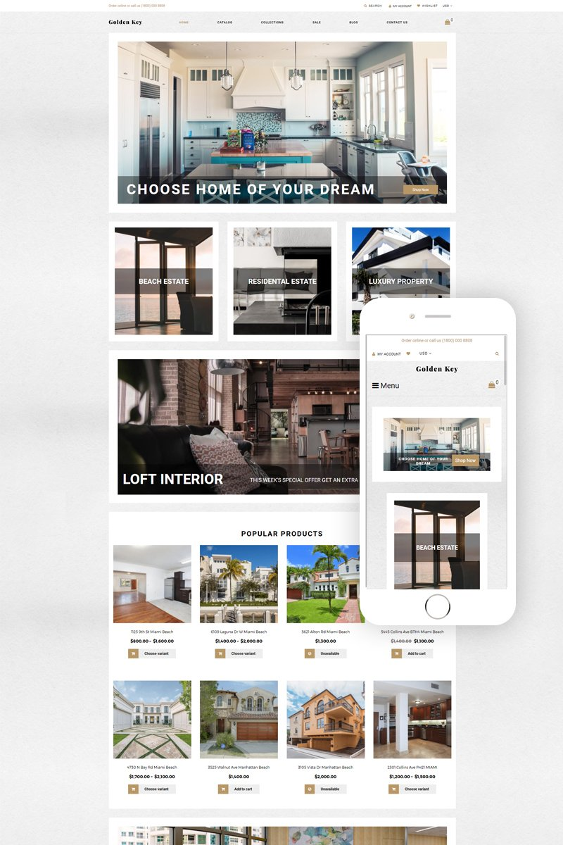 """""""Golden Key - Real Estate Clean"""" Responsive Shopify Thema №78471"""