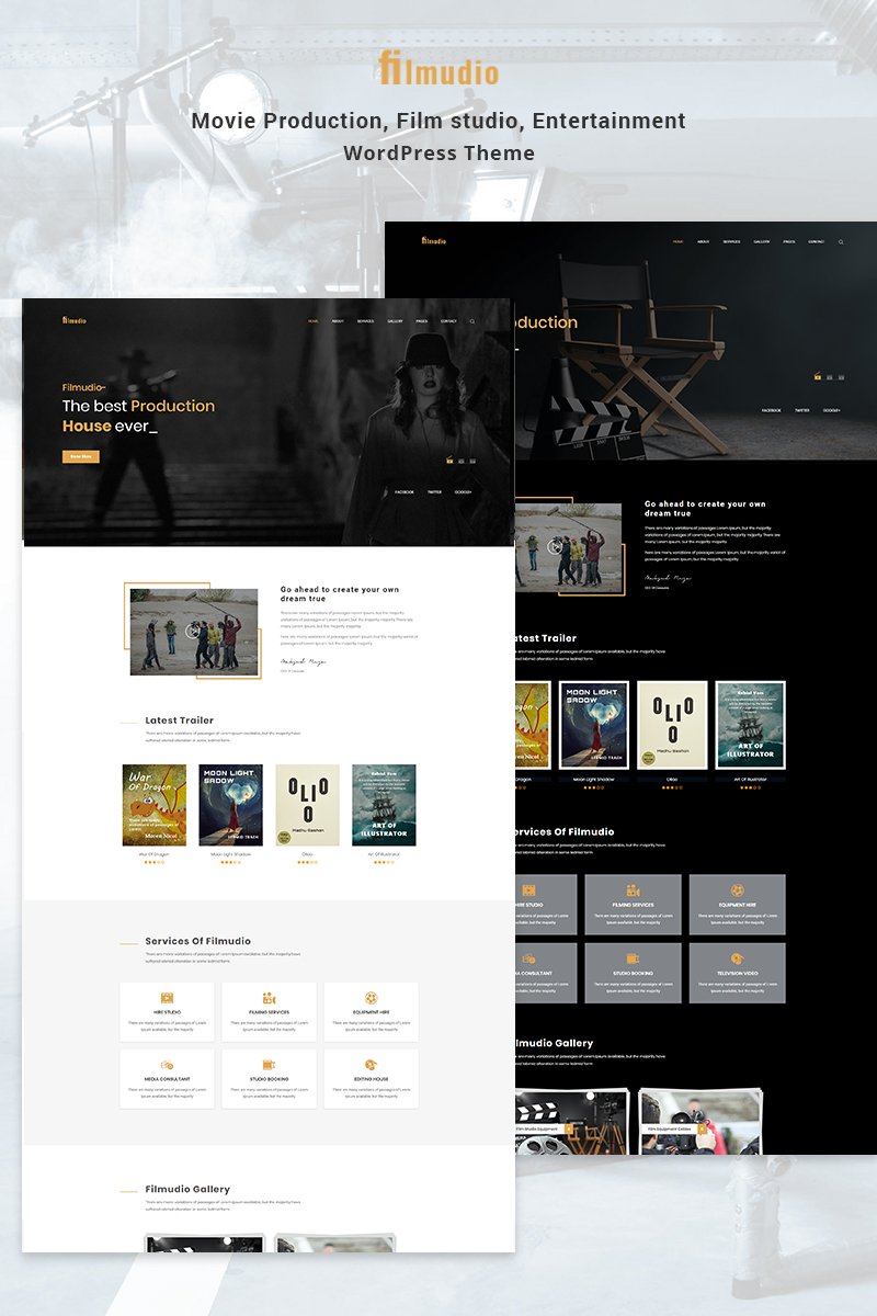 "WordPress Theme namens ""Filmudio - Movie Production, Film studio, Creative & Entertainment"" #78401"