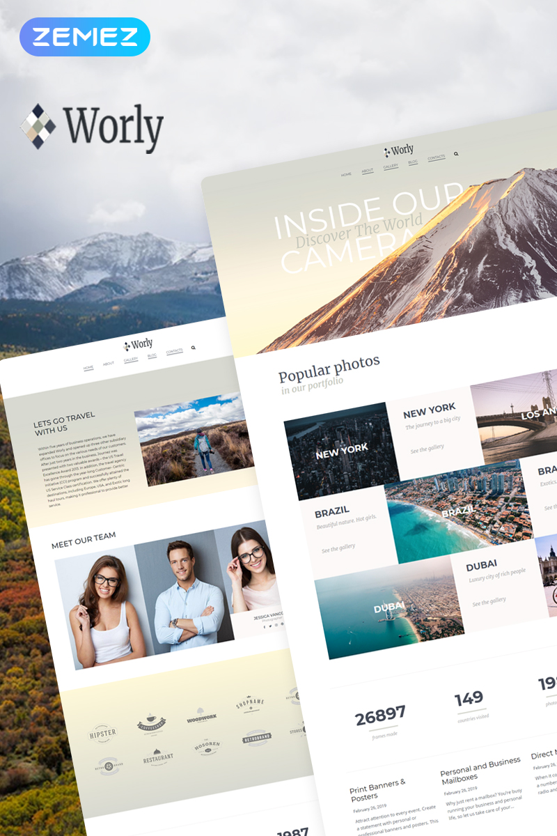 "WordPress Theme namens ""Worly - Photography Multipurpose Modern Elementor"" #78481"