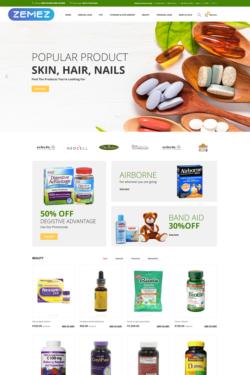+Plus - Medical & Healthcare Clean OpenCart Template