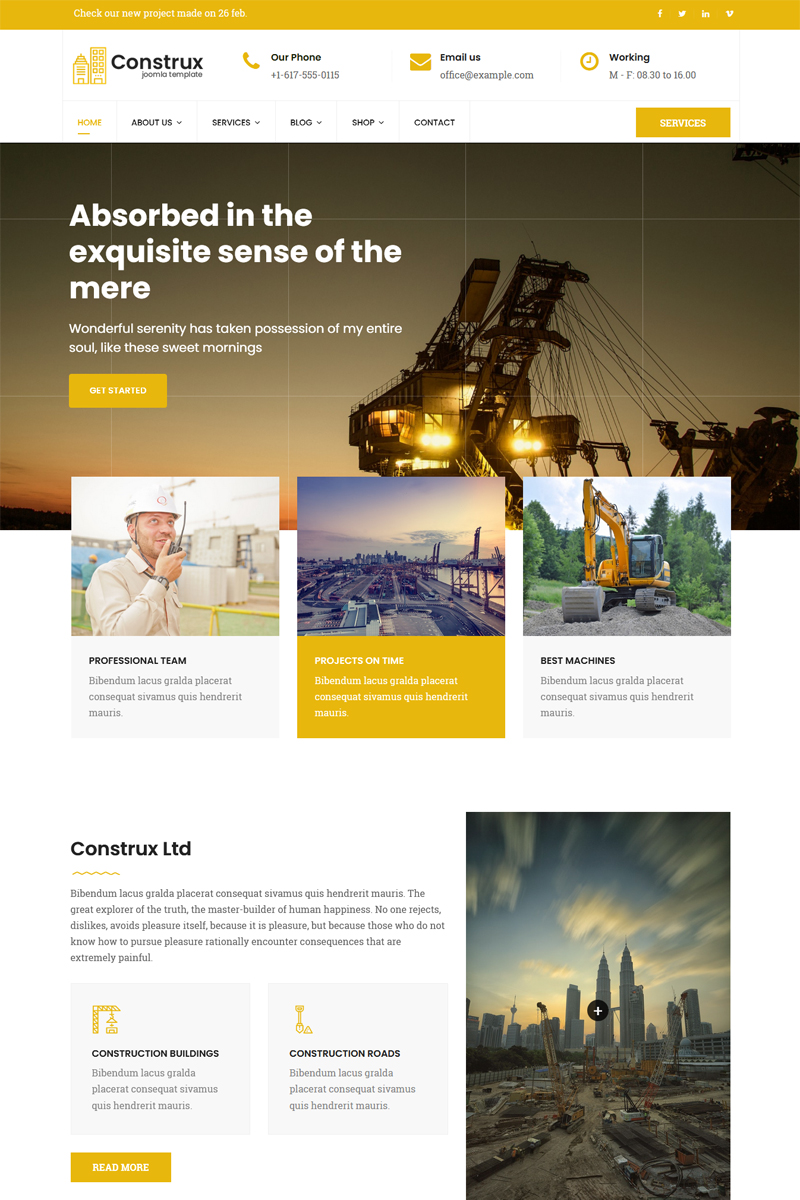 """Construx - Construction & Building Business with Page Builder"" - bootstrap Joomla шаблон №78584"