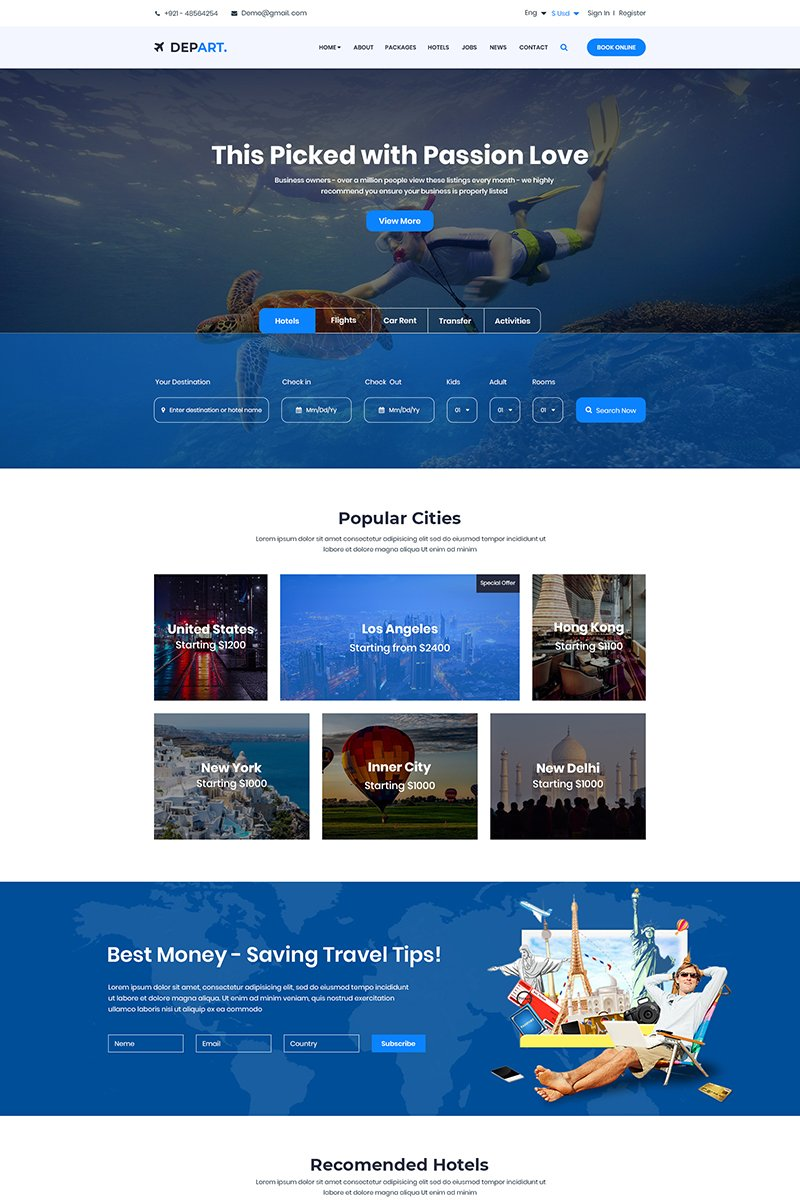 Depart - Travel PSD Template