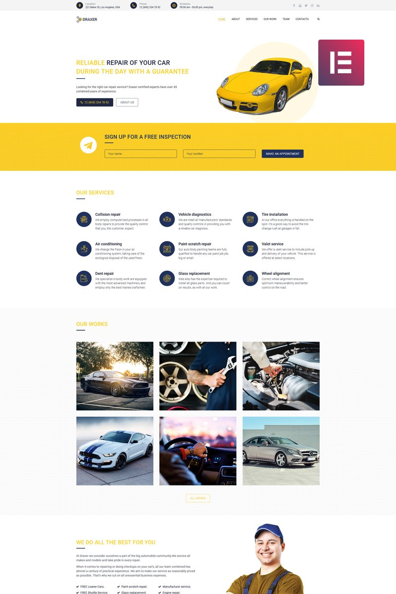 Draxer - Car Repair Multipurpose Minimal Elementor WordPress Theme