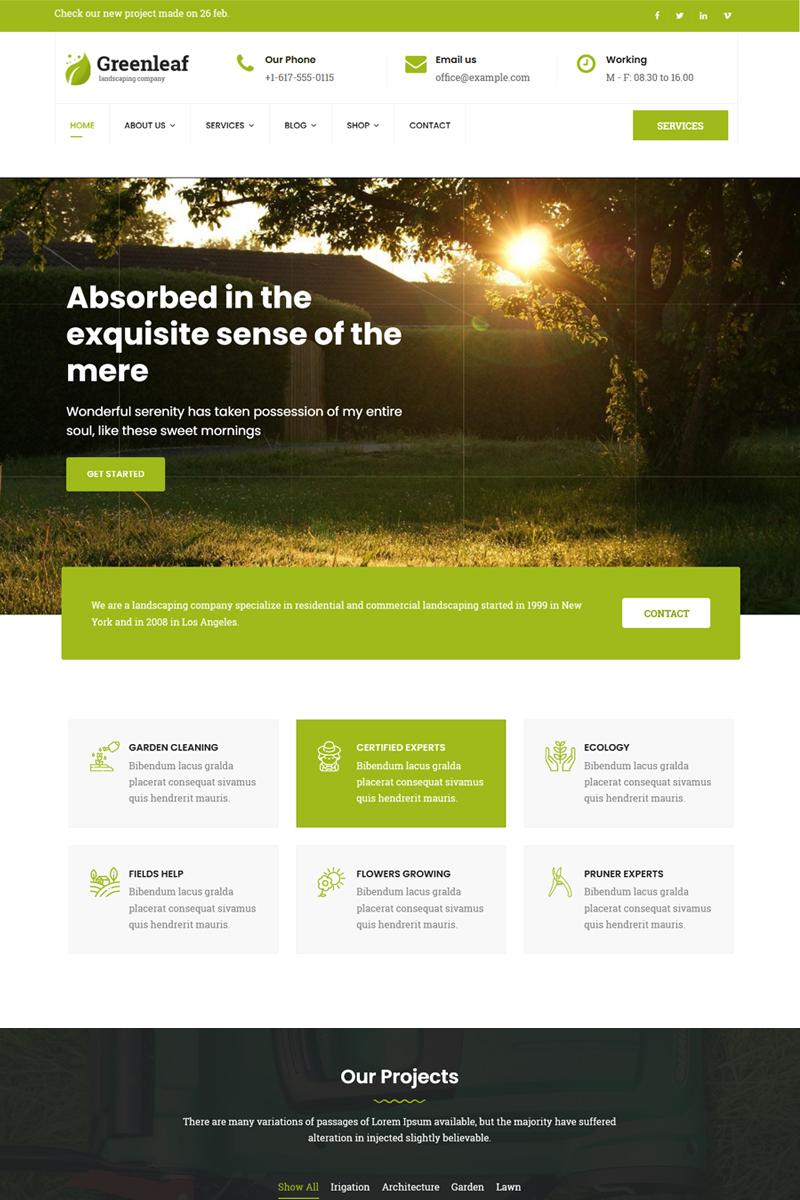 """Greenleaf - Gardening, Lawn & Landscaping"" Responsive Joomla Template №78541"