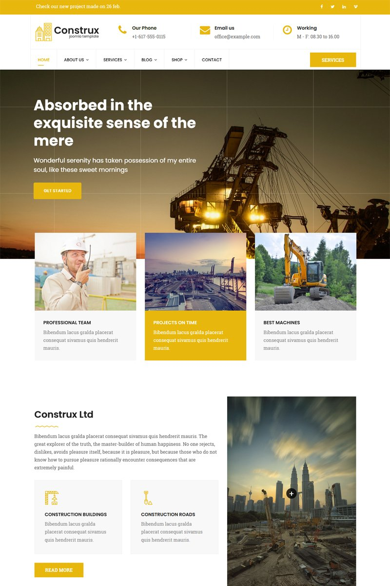 "Joomla Vorlage namens ""Construx - Construction & Building Business with Page Builder"" #78584"