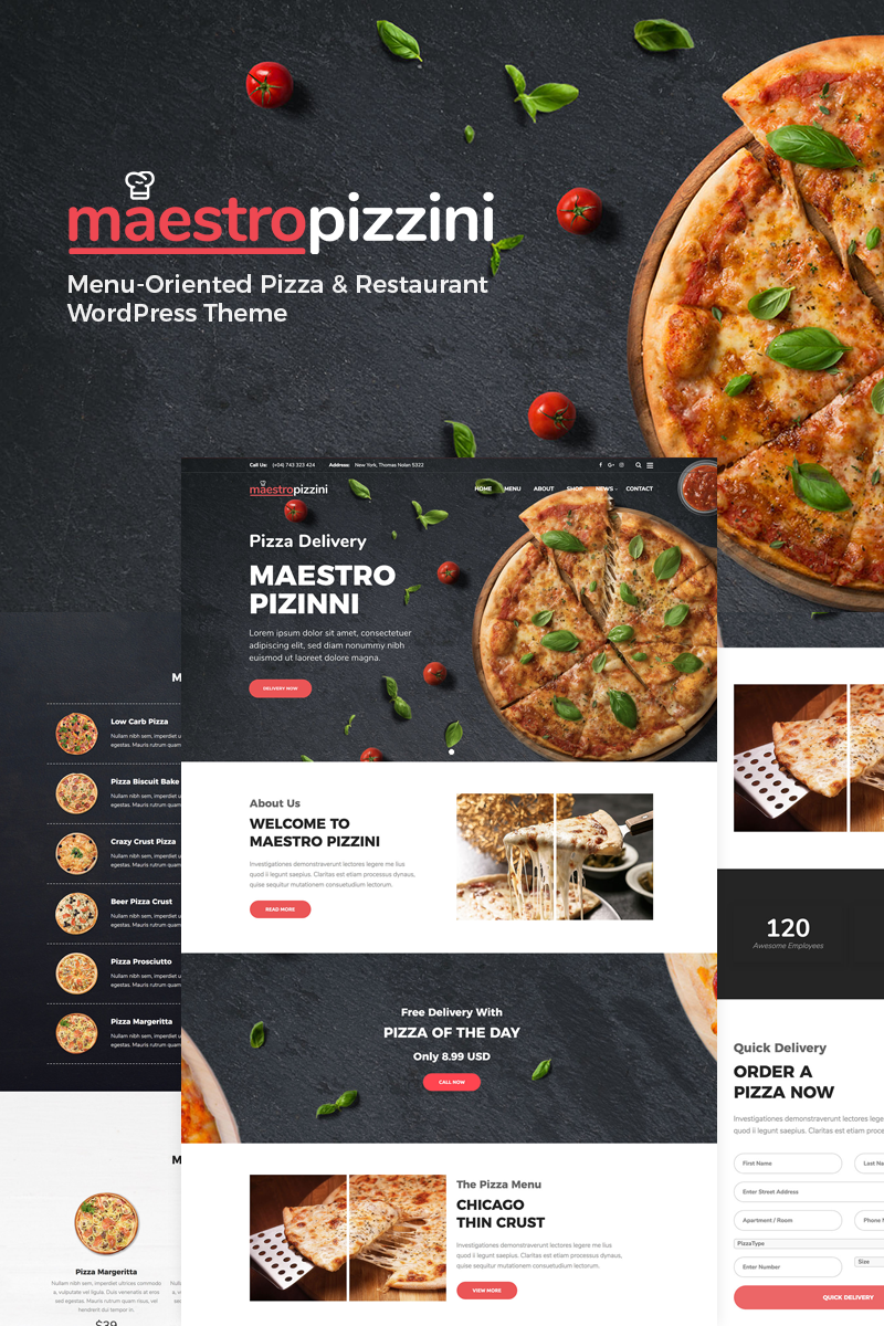 """MaestroPizzini - Pizza & Restaurant Menu-Oriented"" thème WordPress Bootstrap #78574"