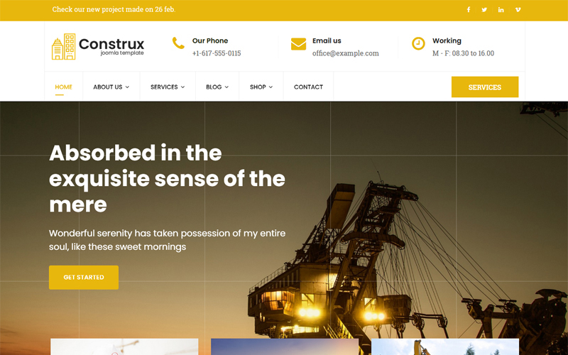 "Modello Joomla Bootstrap #78584 ""Construx - Construction & Building Business with Page Builder"""