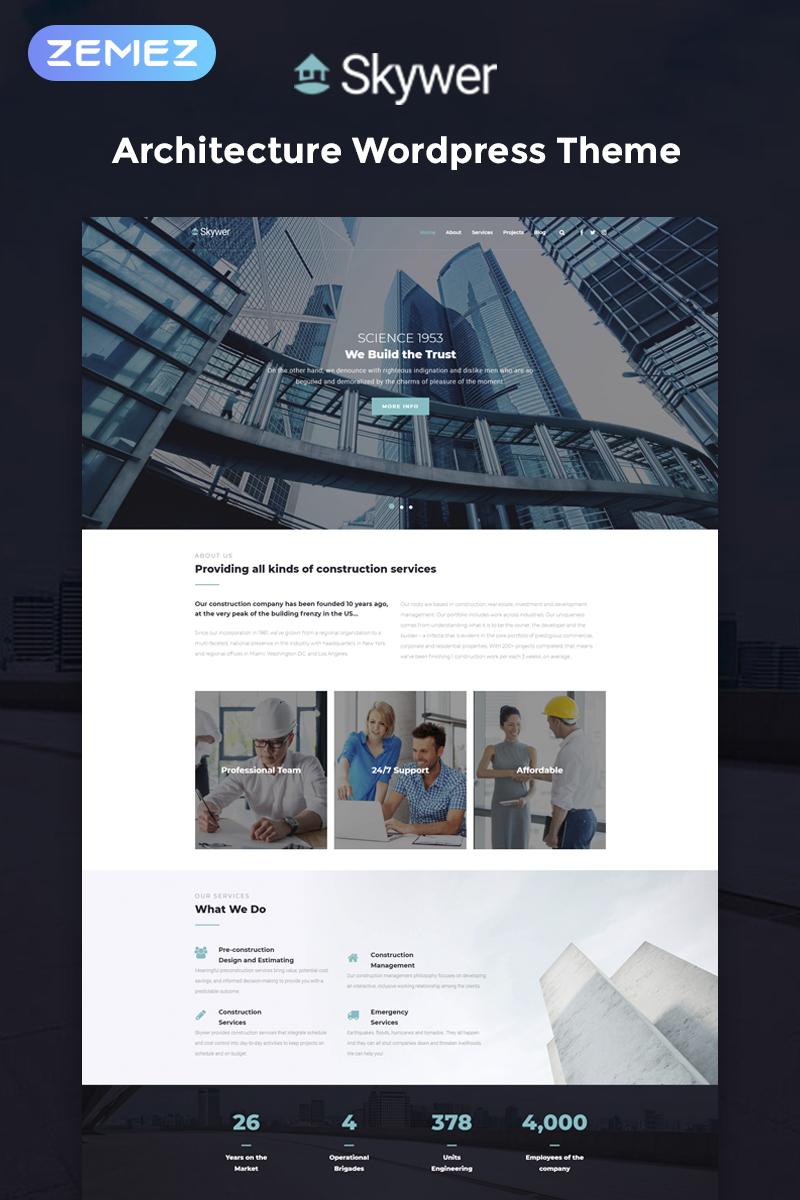"Modello WordPress Responsive #78587 ""Skywer - Architecture Multipurpose Modern Elementor"" - screenshot"