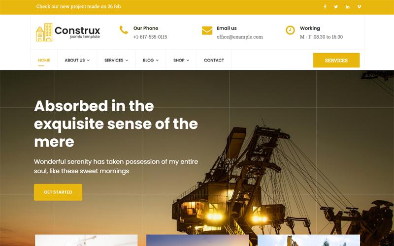 "Plantilla Joomla ""Construx - Construction & Building Business with Page Builder"" #78584"
