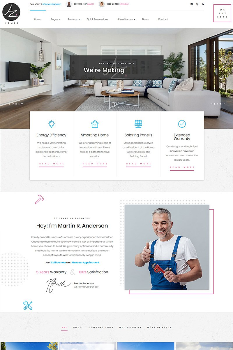 Responsywny motyw WordPress AZhomes - Local Home Builders #78579