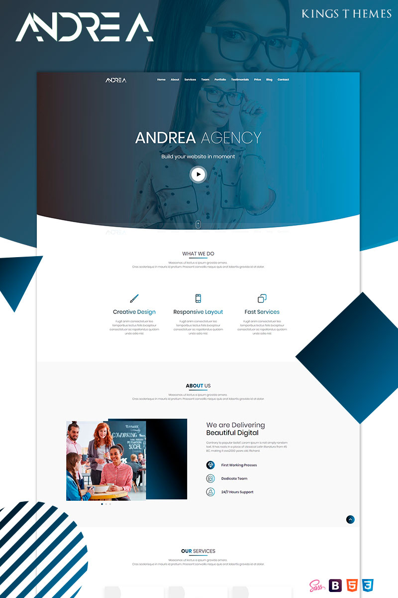 Responsywny szablon Landing Page Andrea Agency #78510