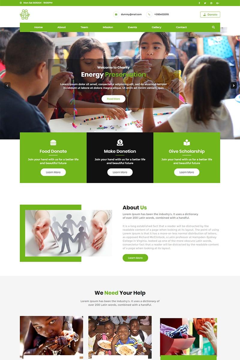 Responsywny szablon Landing Page Helping Hands Charity #78518 - zrzut ekranu