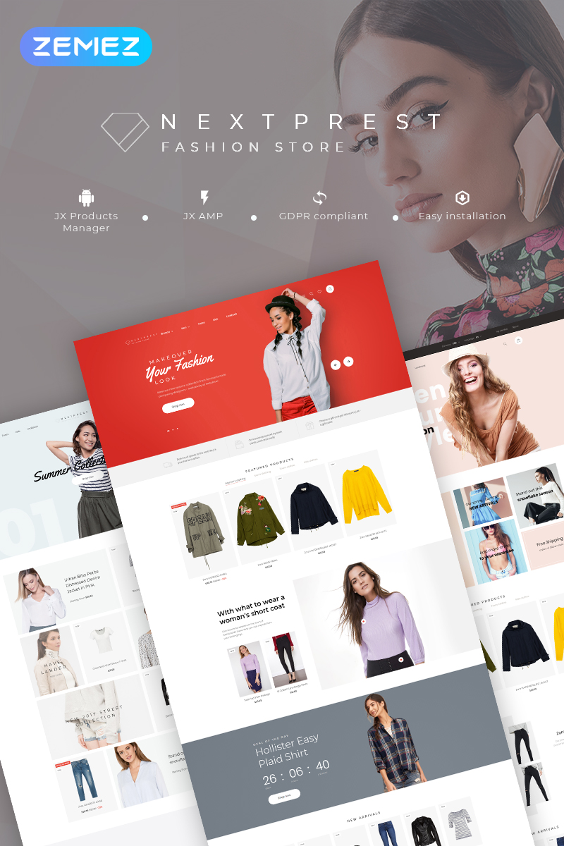 Responsywny szablon PrestaShop Nextprest - Fashion Store Clean Bootstrap Ecommerce #78550