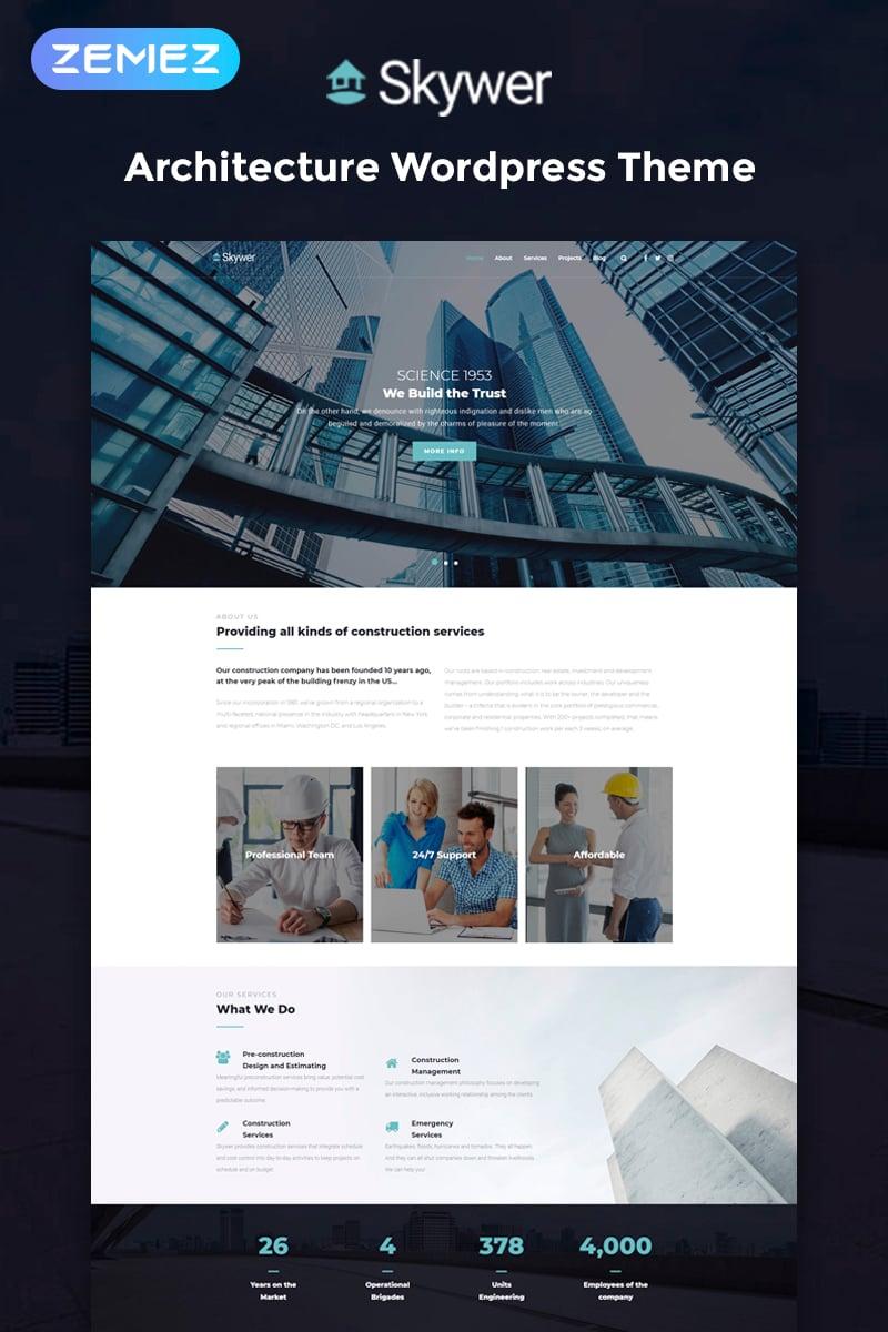 Skywer - Architecture Multipurpose Modern Elementor Tema WordPress №78587 - captura de tela