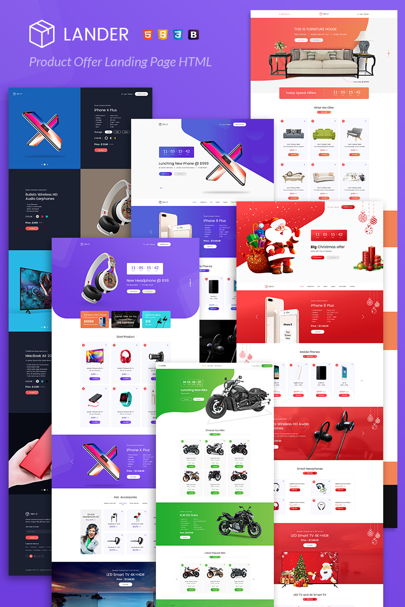 "Tema di Landing Page Responsive #78576 ""Lander Product Offer"""