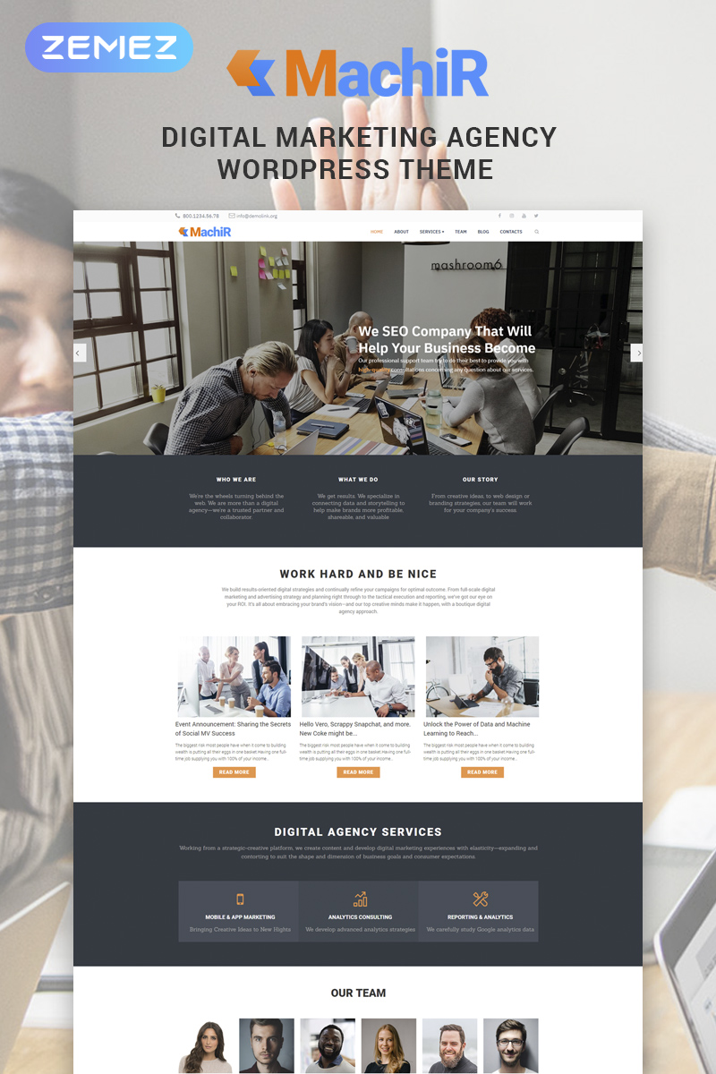 "Tema WordPress Responsive #78546 ""Machir - Digital Marketing Agency Multipurpose Modern Elementor"""