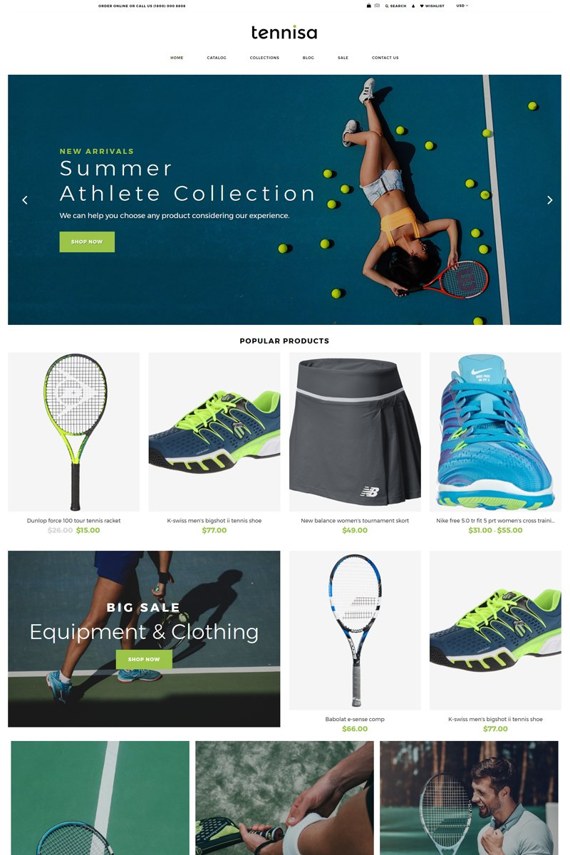 """Template Shopify Responsive #78586 """"Tennisa - Tennis Store Clean"""""""