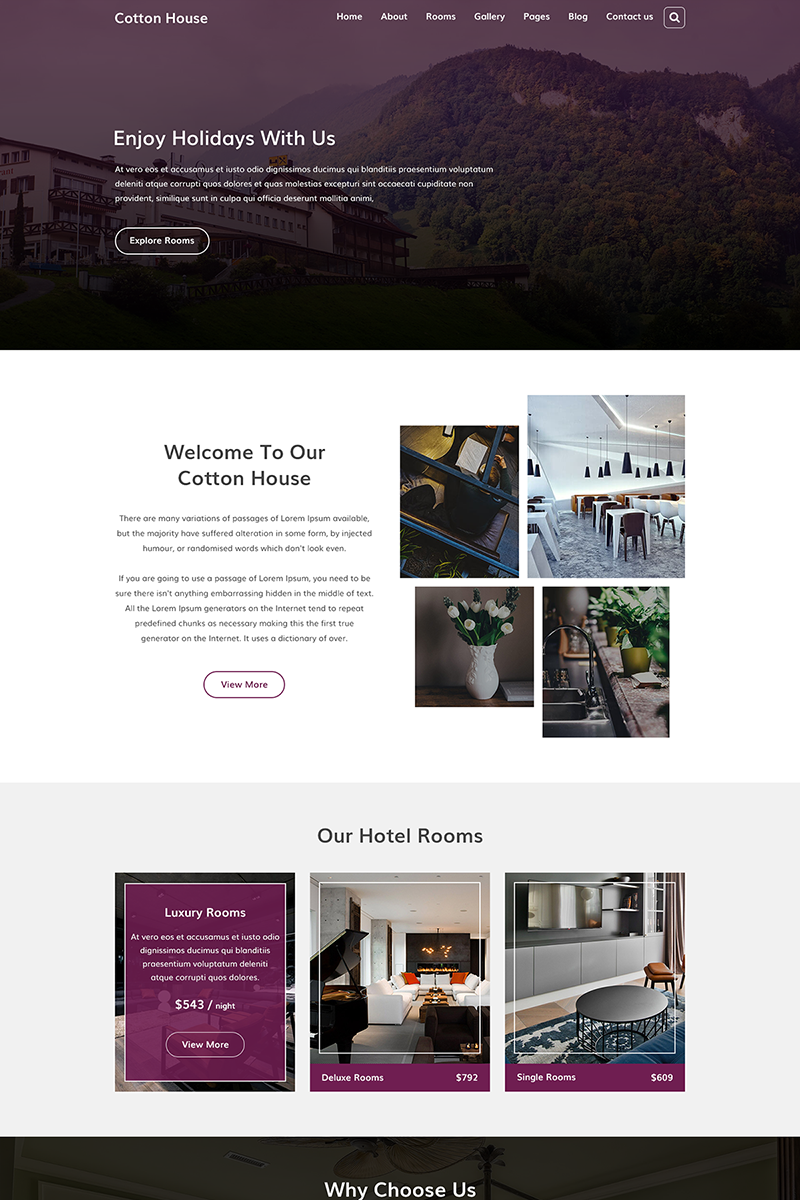 Cotton House  |  Resort, Hotel and Holiday PSD Template