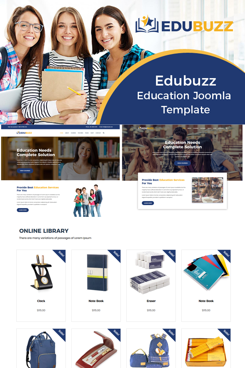 """Edubuzz - Education Online Courses Helix Ultimate"" - адаптивний Joomla шаблон №78755"