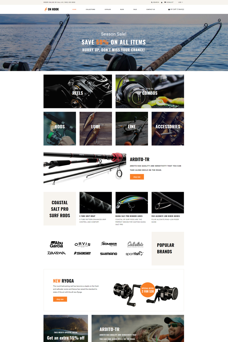 """Modello Shopify Responsive #78716 """"On Hook - Fishing Multipage Clean"""""""