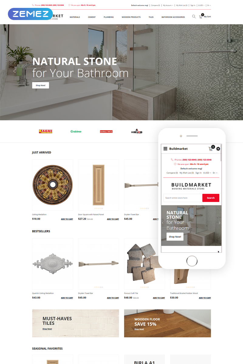 Responsivt BuildMarket - Building Materials Clean OpenCart-mall #78715