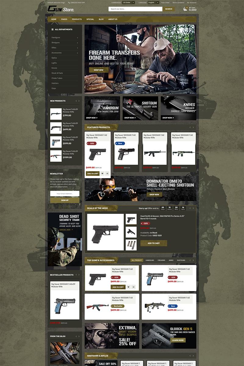 Responsivt GunStore WooCommerce-tema #78754