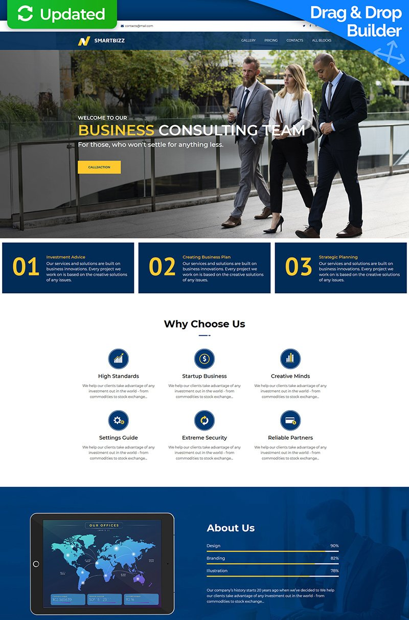 Responsivt SmartBizz - Business Consulting Landing Page-mall #78772
