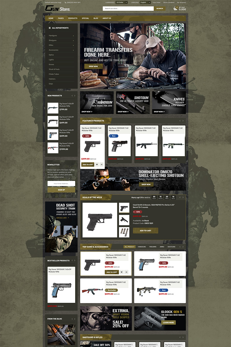 Reszponzív GunStore WooCommerce sablon 78754