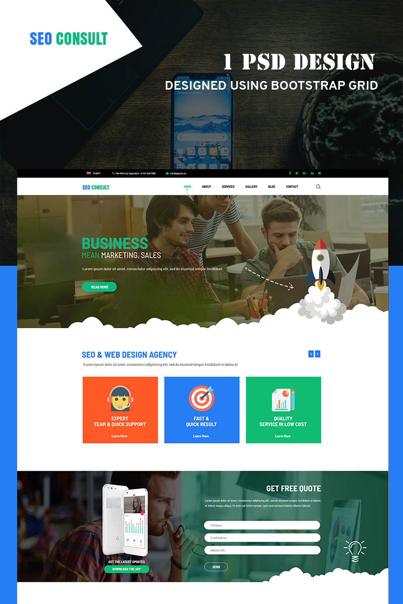 """SeoConsult PSD Template"" PSD Template №78771"