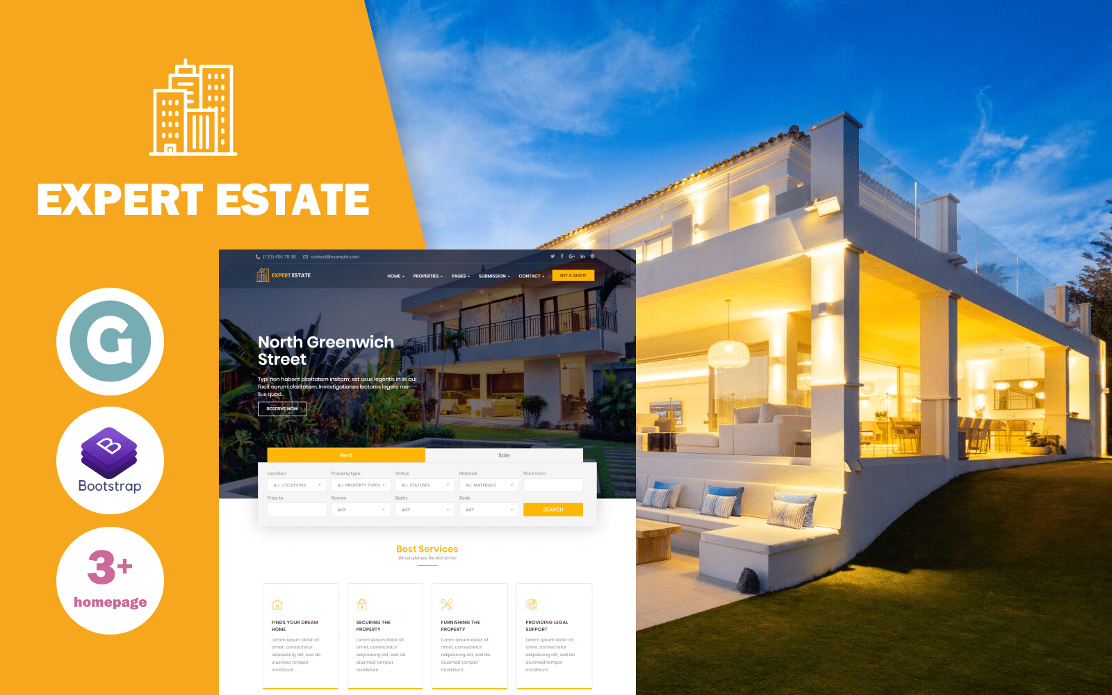 "Tema WordPress Responsive #78783 ""ExpertEstate Real Estate"""