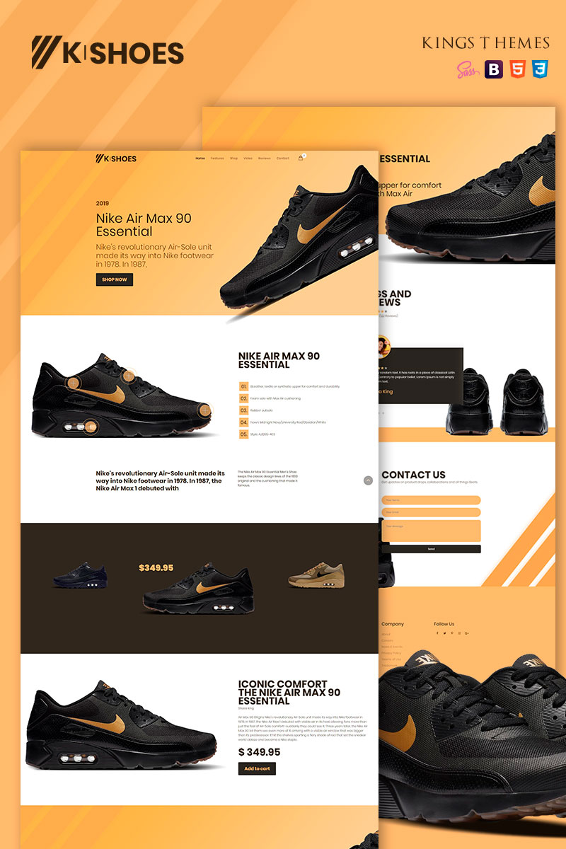 "Template di Landing Page Responsive #78730 ""K-shoes"""