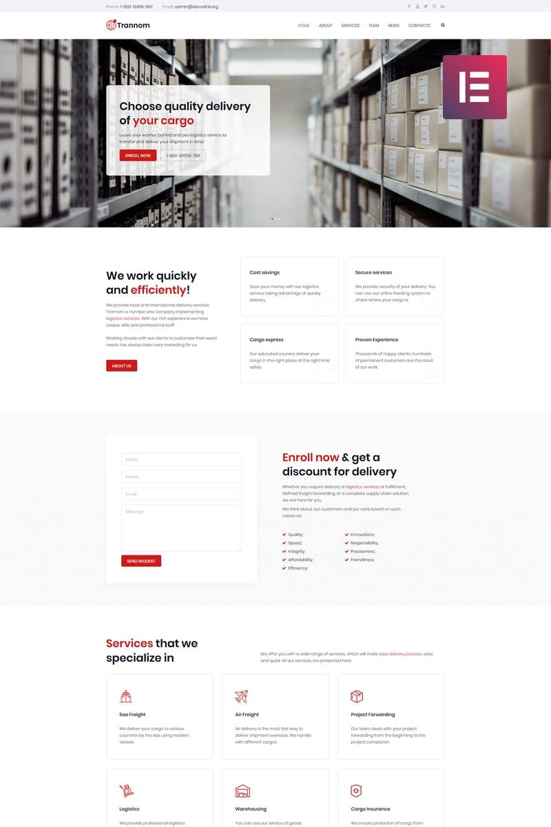 Trannom - Logistics Multipurpose Minimal Elementor WordPress Theme